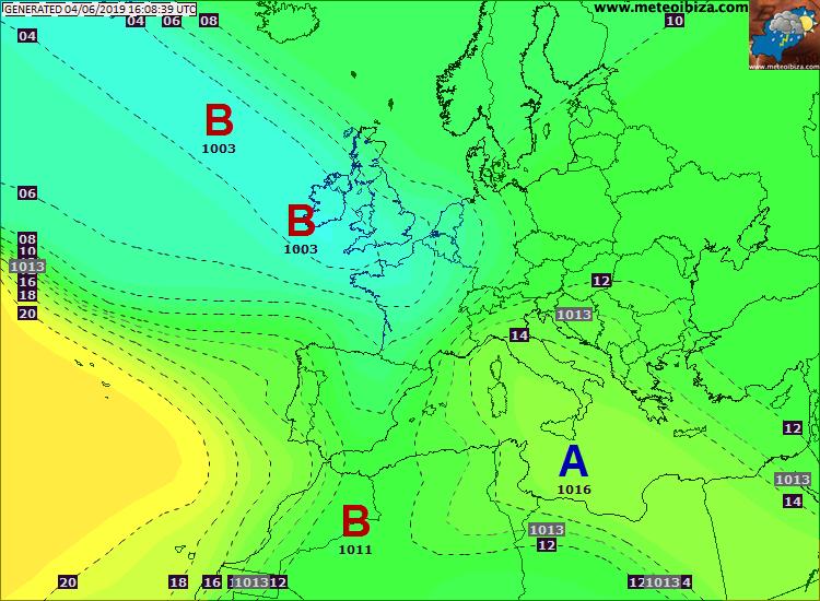 Mappa pressione atmosferica in europa